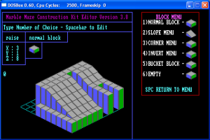 The block editor, in glorious EGA colors.  Note the lack of finished menus to the right.